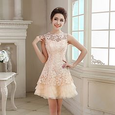A-line Jewel Short/Mini Lace And Tulle Cocktail Dress (NF22) - USD $ 59.99----- this would be so cute for rehearsal dinner