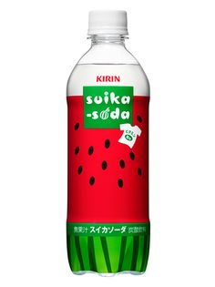 Fun designed pet bottle that looks like a watermelon. Brand: Kirin Suika-soda.