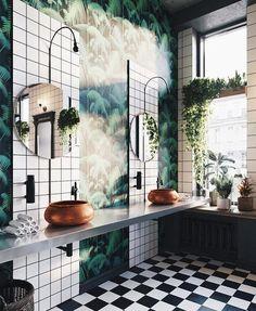 Trendy bathroom plants no sunlight small 56 Ideas Eclectic Bathroom, Boho Bathroom, Bathroom Styling, Bathroom Interior, Modern Bathroom, Bathroom Remodeling, Remodeling Ideas, Bathroom Ideas, Jungle Bathroom