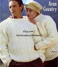 532) Classic Mens & Ladies/ Womens Aran Sweaters, Vintage Aran/ Worsted/ 10ply / Knitting Pattern, Instant download PDF