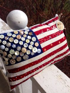 Prim Patriotic Flag Pillow Tuck Americana Decor July by MrsVsPrims, $14.50