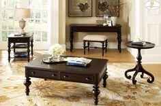 Jackson Park Black Cherry Wood Coffee Table Set