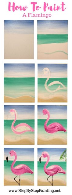 Easy step by step painting tutorial for beginners & kids. How to paint a flamingo with beach background in acrylics on canvas #stepbysteppainging #flamingo #flamingoparty