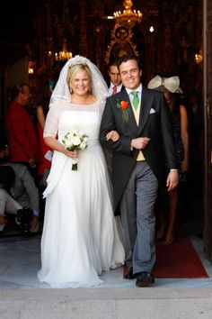 The Wedding of Sophie of Schönburg-Gauchau  and Carles Andreu exit the Church in Ronda Marbella, Andalusia on 15 Sep 2013.  The Bride is the daughter of Marie-Louise Princess of Prussia and the count Rudolf of Schönburg-Gauchau