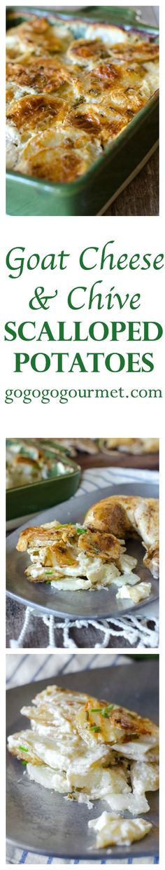 These Goat Cheese & Chive Potatoes are incredibly creamy AND easy to make! | Go Go Go Gourmet @gogogogourmet