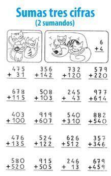 Suma de 3 cifras y 2 sumandos 2nd Grade Math Worksheets, 1st Grade Math, Worksheets For Kids, Math For Kids, Fun Math, Teaching Tips, Teaching Math, Math Sheets, Preschool Learning Activities