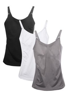 8289a40e85ecd HOFISH 3 Pack Pregnant Seamless Nursing Tank Top Cami With Pads XL NEW!   fashion