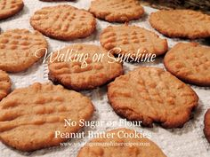 Walking on Sunshine: Sugarless and Flourless Peanut Butter Cookies...