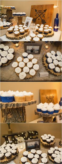 Janae + Kevin's Elkwater Wedding | Cypress Hills Wedding Photographer. Rustic wedding decorations with old wood logs for cupcake display at Elkwater Community Hall. Taken by Woods Photography in Elkwater, AB (CANADA). #cypresshills #weddingdecor #cupcakes #trees #rustic