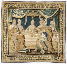 French Aubusson tapestry 17e Le Banquet d'Ulyees