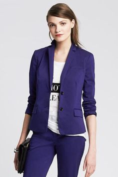 30 Non-Boring Blazers That Work For Every Office #refinery29  http://www.refinery29.com/cool-blazers#slide-4  Ditch navy all together, and dive deep into purple.