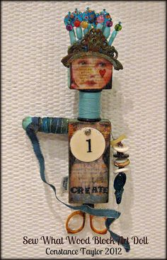 Sew What (Wood Block Art Doll) by constancetaylor, via Flickr