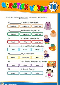 QUESTION WORDS - WORKSHEET http://eslchallenge.weebly.com/pack-2.html