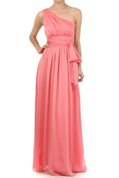 ONE SHOULDER CHIFFON BRIDESMAIDS DRESS WITH SASH IN CORAL