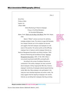 MLA 8th Annotated Bibliography Example Student Centered