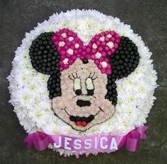 Minnie Mouse 2D Character Head Funeral Flowers Tribute