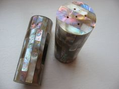 Lovely Abalone Salt & Pepper Shakers, quality made, rectangular peices of abalone cover all sides, varying patterns, subtle rainbow hues @PumpjackPiddlewick on Etsy
