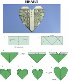 Heart shaped dollar bill origami, For the wedding. Little Grey Bungalow: If Yo. Heart shaped dollar bill origami, For the wedding… Little Grey Bungalow: If You've Got The Mone Easy Money Origami, Money Origami Heart, Easy Dollar Bill Origami, Money Origami Tutorial, Fold Dollar Bill, Useful Origami, Origami Instructions, Dollar Heart Origami, Oragami Money