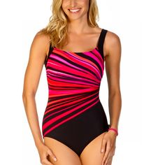 d290035f64 Reebok Coral Vanishing Lite One-Piece ($67) ❤ liked on Polyvore featuring  swimwear