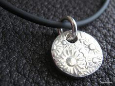 Happy Flower Fine Silver Pendant with Floral by jennybuttons, $39.00