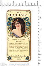 5307 Wild Hair Tonic c. 1910 bottle label, Columbia Perfume Co. Pittsburgh, PA