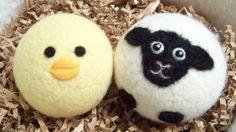 cute farm friends Wool Felt Dryer Balls
