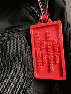 Custom Luggage Tag  -3D printed with your name, address and phone number. I NEED this for my camera bag! Hmmmm what color do I want?