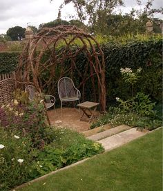 Woven Wattle fence and Willow Arbor by Katherine Roper Garden Design
