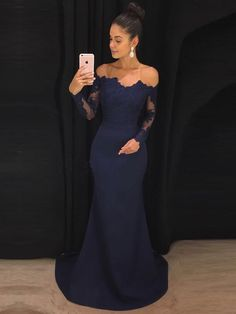 Off the Shoulder Navy Mermaid Prom Dresses with Long Sleeves APD3070