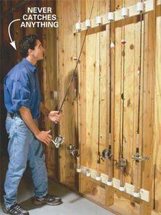 Fishing pole holders in garage