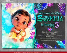 Moana Birthday Moana Invitation Disney by PartyKidsInvitations