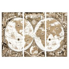 Air France 1952 Map Canvas Print, Oliver Gal (Set of 3)