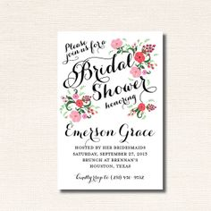 Calligraphic Floral Bridal Shower Invitation, Rehearsal Dinner Invitation, Baby Shower Invitation on Etsy, $46.82 AUD