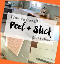 Remodeling Your Kitchen on a Budget #Installing #Peel #Stick #Glass #Tiles... Cheap Kitchen Remodel, Kitchen On A Budget, Diy Kitchen, Kitchen Design, Cheap Kitchen Countertops, Glass Tiles, Remodeling, Home Decor, Cuisine Design