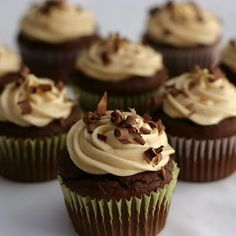 Proceed with Caution: Chocolate Peanut Butter Cupcakes with Whipped Peanut Butter Cream Cheese Frosting