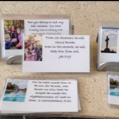 Bible verses on business cards. Place persons name directly in verse. Laminate cards and place in holder. Great DIY Christmas gifts with meaning.