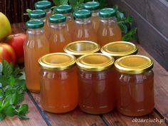 Napój jabłkowo - miętowy bez chemii Hot Sauce Bottles, Preserves, Chutney, Grilling, Food And Drink, Jar, Sweets, Homemade, Cooking