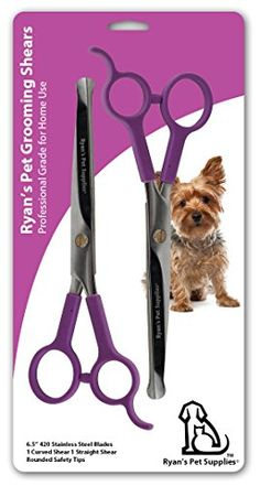 Professional Dog Grooming Scissors from Ryan's Pet Supplies, Two Pairs Stainless Steel Scissor Kit, Thinning Shears for Dogs and Pets, Straight Shear for Body and Curved Shear for Face and Paws Dog Grooming Kit Set of 2 Dog Grooming Shears Dog Grooming Supplies, Grooming Kit, Pet Supplies, Dog Grooming Scissors, Pet Dogs, Pets, Shearing, Face, Image Link