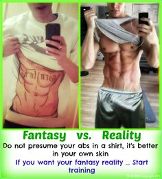 BODYBUILDING AND FITNESS MOTIVATION : Fantasy Vs. Reality:  The decision to change your lifestyle and look muscular, sexy, aesthetic, athletic and healthy body you want, just in your hands, so start training.   Blessings.  :)
