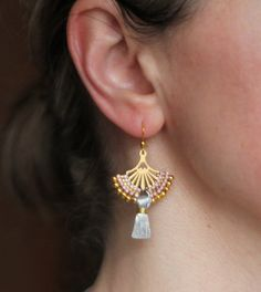 Golden Fan Earrings Gold Filigree Earrings Ethnic Earrings