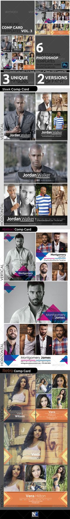 Model Comp Card Template Kit Vol. 3  Models, actors, actresses all need comp cards to leave behind at auditions, model calls, and casting calls. This comp card template bundle is perfect for modeling agencies, photographers, models, actors and designers. There are 6 templates in total with 3 unique designs, each with various layout orientations. This kit is perfect to use now and save for later. Your clients will certainly be impressed with these professional designs.  The included Photoshop…