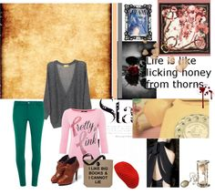 """""""life is like licking honey from thorns."""" by shzchew248 ❤ liked on Polyvore"""