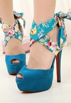Blue Floral Ankle Wrap Heels  #aquaheels #opentoeplatforms #anklewrapheels