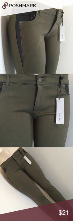 "5 pocket military green leggings. Green and black stretchy pants. 68% Rayon 27% Nylon 5% Spandex. Beautiful pants with black like leather details on both sides. 5 pocket leggings and button closure. High quality. #006 1X 32/33"" waist and 30/31"" long✨✨2X 33/34"" waist and 31"" long. ✨✨✨3X 35/36 waist and 32"" long. Plus 5% spandex 😉 Please be sure to check the measurements as these pants are a tight fit❤️ Shinestar Pants Leggings"