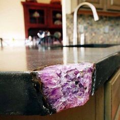 Broken kitchen counter corner fixed with an amethyst crystal cluster. Absolute brilliant idea. All that comes to mind are the many times I…