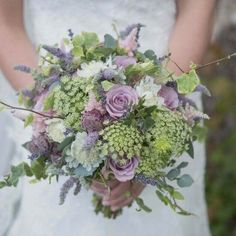 rustic bridal bouquet with dried lavender, flowering mint, lilac roses and rustic ivy, queen-ann's-lace (Lovely bouquet. Really well done! Lilac Wedding Flowers, Lavender Bouquet, Wedding Flower Arrangements, Flower Bouquet Wedding, Floral Wedding, Lilac Roses, Trendy Wedding, Rustic Wedding, Wedding Ideas