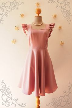 Items similar to Olivia - Dusky mauve Pink Bridesmaid Dress Dusky Pink Dress Party Dress Tea Dress Reception Dress Ruffle Sleeve Dress Summer dress-XS-XL on Etsy Pink Brides Maid Dresses, Dusky Pink Bridesmaid Dresses, Dusky Pink Dress, Event Dresses, Day Dresses, Dresses With Sleeves, Summer Dresses, Ruffle Sleeve Dress, Special Dresses