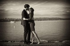 Couple pre wedding portrait session shot by olivier Lalin from WeddingLight Paris on the lake in Geneva Switzerland