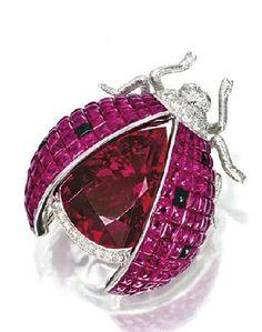 Pink tourmaline ruby/ sapphire/ diamond ladybug.