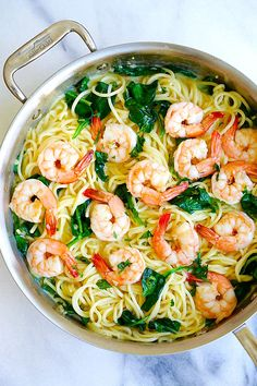 Creamy Shrimp Pasta - easy pasta recipe with shrimp, spaghetti in a buttery and creamy sauce. Cooked in one pot, dinner is ready in 20 mins | rasamalaysia.com